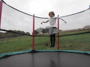 Indoor & outdoor play areas - small girl jumping on a trampoline